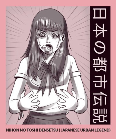 Horror Manga-Inspired T-Shirt Design Maker Featuring a Scary Scene 2871e