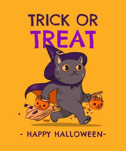 T-Shirt Design Maker Featuring Halloween Cat Illustrations 2896