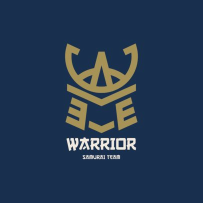 Gaming Logo Template with a Minimalistic Icon of a Samurai Headgear 2819c-el1
