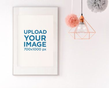 Mockup of an Art Print Placed by a Modern Ceiling Lamp 38696-r-el2