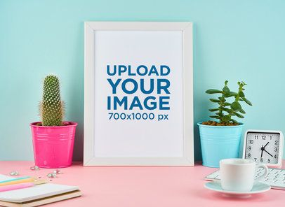 Art Print Mockup Featuring Colorful House Plants Pots 35867-r-el2