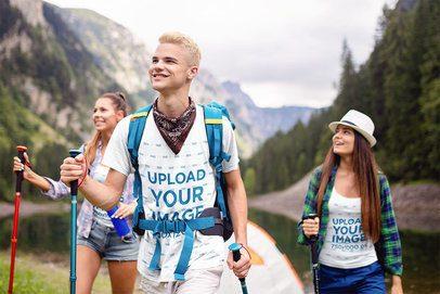 Tank Top and T-Shirt Mockup Featuring Three Friends Hiking 42071-r-el2