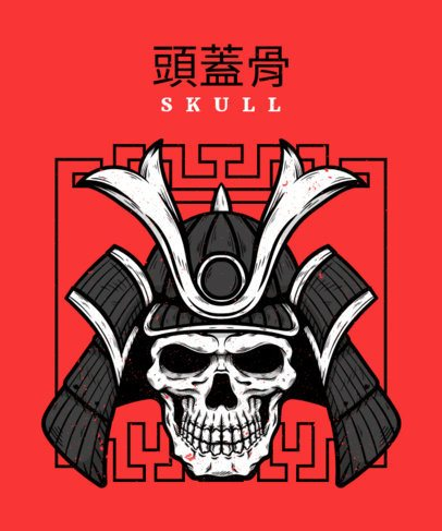 Illustrated T-Shirt Design Template with the Skull of a Samurai 2768d-el1