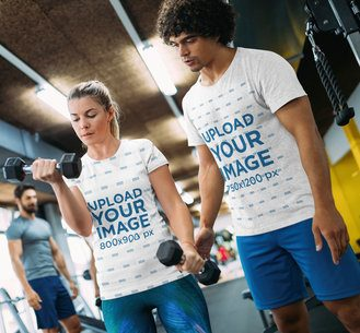 T-Shirt Mockup of a Coach Training a Woman at the Gym 41213-r-el2