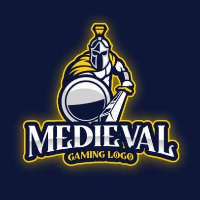 Logo Template for a Gaming Team Featuring a Medieval Warrior 2276f-el1