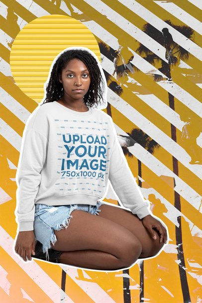 Collage-Style Mockup of a  Woman Wearing a Crewneck Sweatshirt 42544