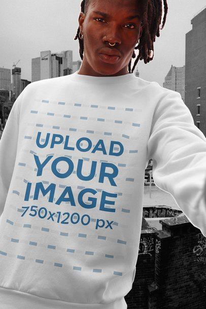 Mockup of a Cool Man Wearing a Crewneck Sweatshirt 42550