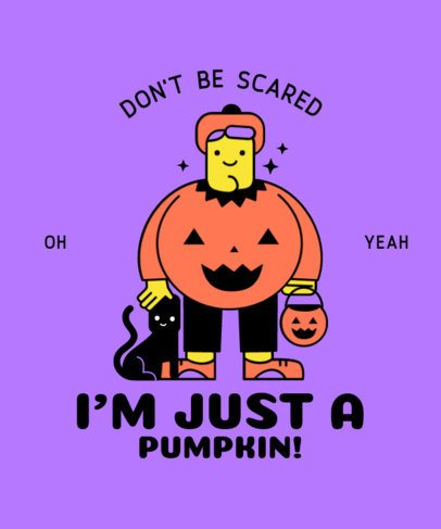 T-Shirt Design Generator Featuring a Cartoon in a Pumpkin Costume 2897d