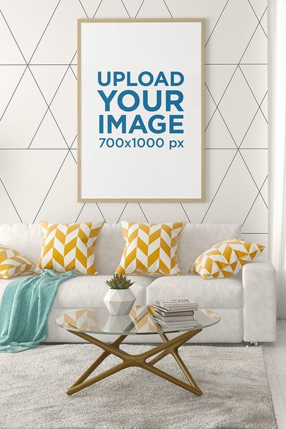 Mockup of an Art Print on the Wall of a Living Room with Fancy Decoration 35646-r-el2