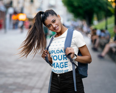 T-Shirt Mockup of a Student with a Long Ponytail 41399-r-el2