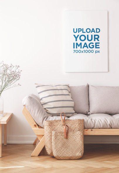 Mockup of an Art Print Placed Above a Minimalist Sofa 36338-r-el2