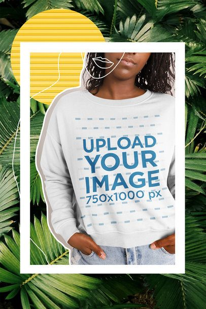 Sweatshirt Mockup Featuring a Woman and a Collage 42547