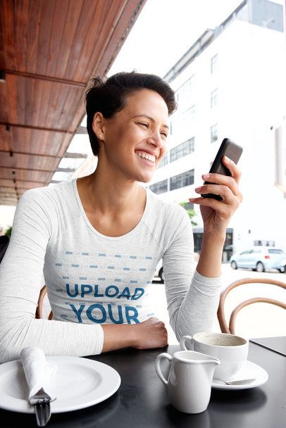 Long Sleeve Tee Mockup of a Smiling Woman Checking Her Phone 37813-r-el2