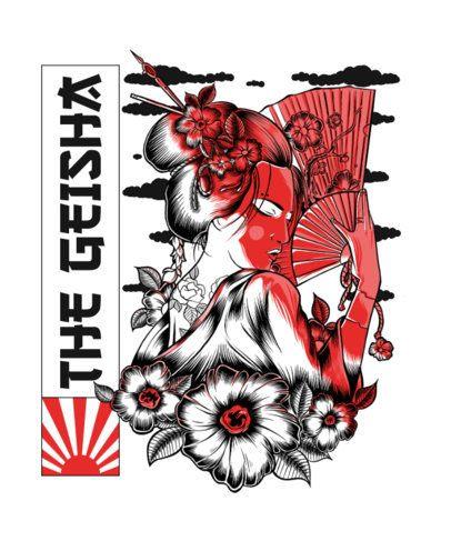 T-Shirt Design Generator Featuring a Mischievous Geisha 2760c-el1