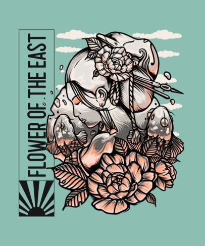 Floral T-Shirt Design Creator with the Illustration of a Geisha 2760b-el1