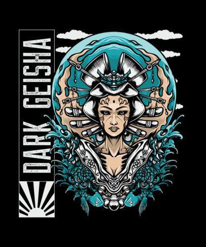 Illustrated T-Shirt Design Maker Featuring a Demonic Geisha 2760d-el1