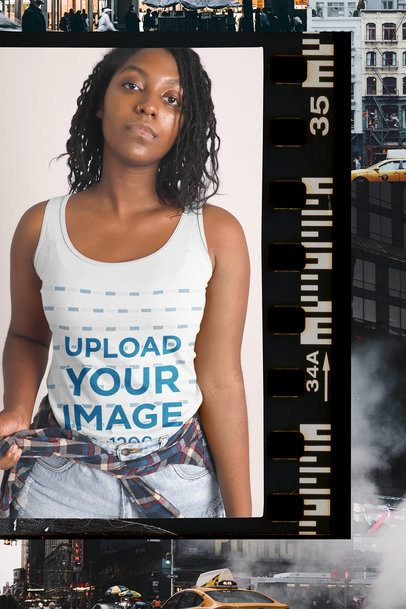 Collage Style Mockup of a Woman Wearing a Tank Top 42554