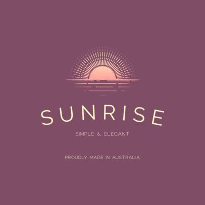 Ethical Clothing Brand Logo Template Featuring a Sunrise Clipart 3630b