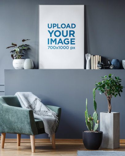 Framed Art Print Mockup Featuring a Room With Plant Pots and Modern Furniture 35874-r-el2