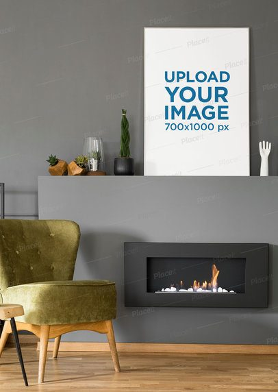 Mockup of an Art Print Placed in a Modern Living Room 38891-r-el2