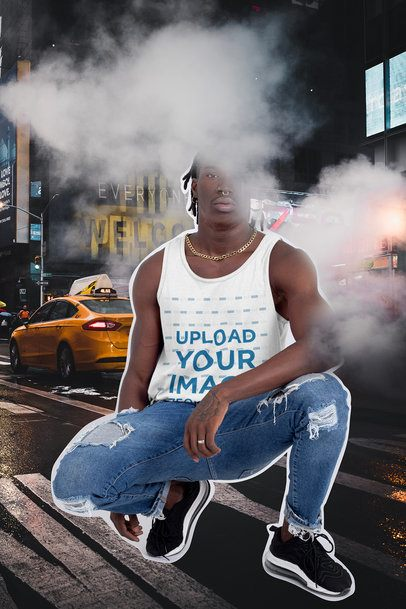 Tank Top Mockup Featuring a Man and a Collage Background 42539