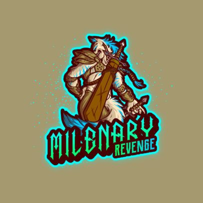 Gaming Logo Creator Featuring an Anthropomorphized Wolf with a Sword 3639e