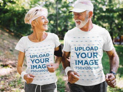 T-Shirt Mockup of a Senior Couple Jogging in Nature 41448-r-el2