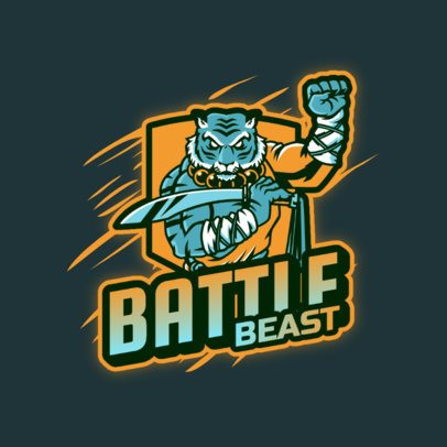 Logo Template Featuring an Anthropomorphized Warrior Tiger 3639k