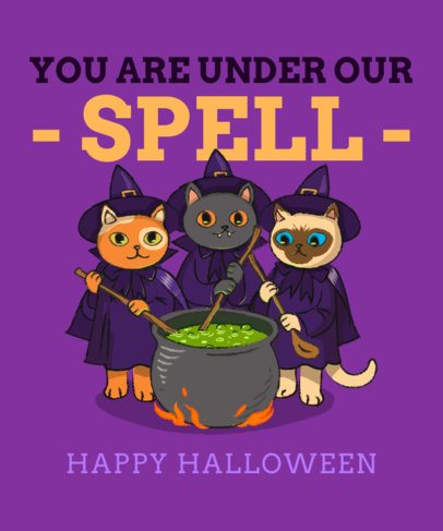 Illustrated T-Shirt Design Creator Featuring Cats in Witch Costumes 2896a