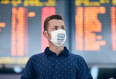 Mockup of a Man Wearing a Face Mask at an Airport Terminal 41960-r-el2