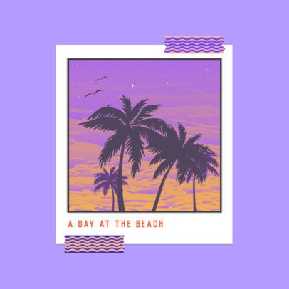 Album Cover Template for a Tropical Style Musician with a Palm Tree Illustration 3644m