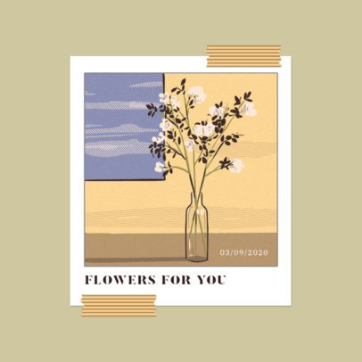 Mixtape Cover Template for Indie Rock Artists Featuring a Flower Vase Illustration 3644g