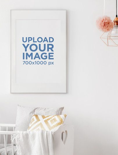Mockup Featuring a Minimalist Art Print Hanging By a Baby's Crib 38882-r-el2
