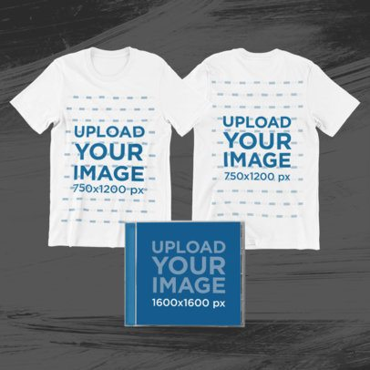 Merch Bundle Mockup Featuring Two T-Shirts and a CD Jewel Case 43333-r-el2
