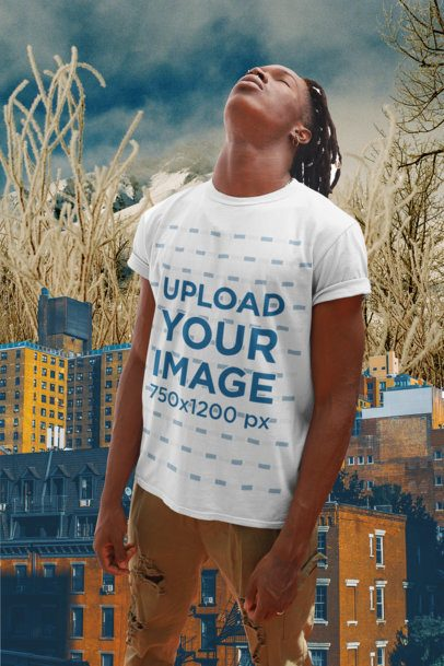Collage-Style T-Shirt Mockup Featuring a Man Posing 42551