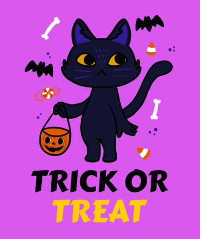 T-Shirt Design Template Featuring a Cat Trick-or-Treating  2898e