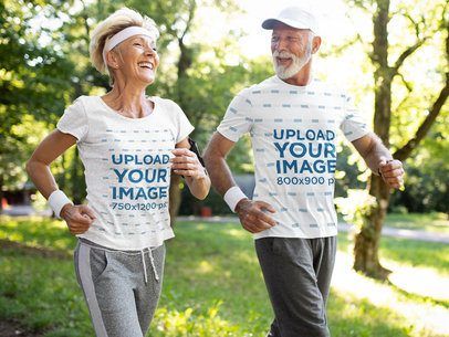 Activewear T-Shirt Mockup of a Senior Couple Going for a Run 40669-r-el2