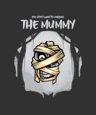 Halloween T-Shirt Design Maker Featuring a Spooky Mummy Head Illustration 2858b-el1
