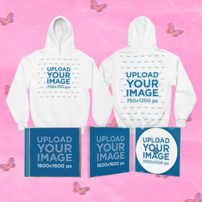 Mockup of a Merch Bundle Featuring Two Hoodies and CD Jewel Cases 43434-r-el2
