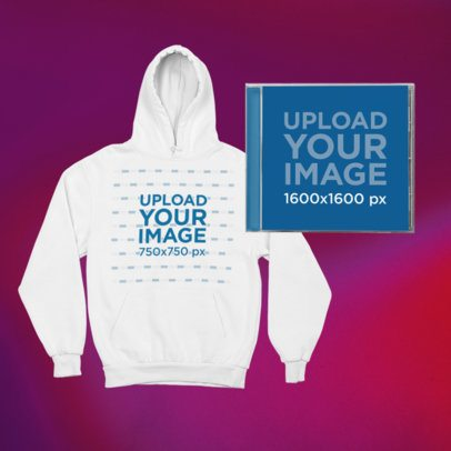 Merch Bundle Mockup Featuring a Front-View Pullover Hoodie and a CD Jewel Case 43427-r-el2