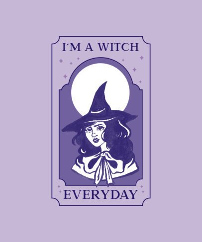 T-Shirt Design Template Featuring an Illustration of a Witch 2856c-el1