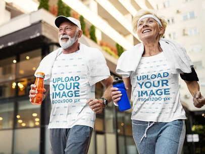 T-Shirt Mockup Featuring a Senior Couple Jogging in the City 41445-r-el2