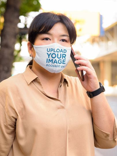 Face Mask Mockup Featuring a Woman in an Urban Setting 42188-r-el2
