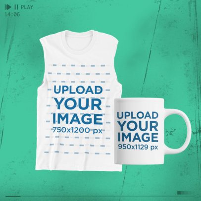 Merch Bundle Mockup Featuring a Front-View Tank Top and an 11 oz Mug 43372-r-el2
