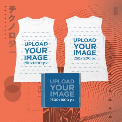 Merch Bundle Mockup Featuring a Both Sides-View Tank Top and a CD Jewel Case 43389-r-el2