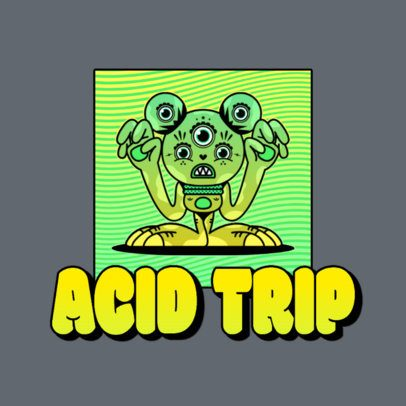 Logo Template for an Acid Beatmaker with a Psychedelic Cartoon 3655d