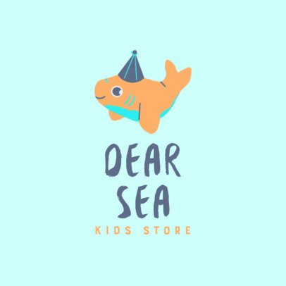 Kids' Clothing Store Logo Maker Featuring a Small Shark Graphic 3657j