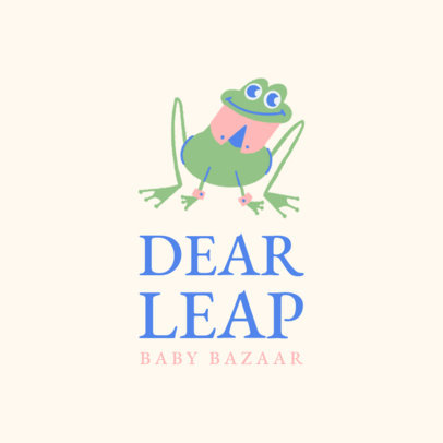 Logo Maker for Baby Clothing Stores Featuring a Funny Frog Illustration 3657l
