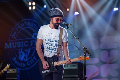 T-Shirt Mockup Featuring a Beaded Rock Musician 4985-el1