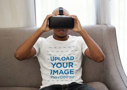T-Shirt Mockup Featuring a Man with a VR Headset at Home 42037-r-el2